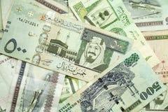 Argent de l'Arabie Saoudite, photo de plan rapproché images stock