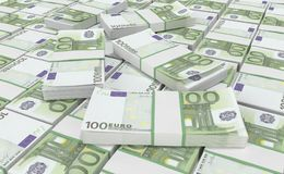 argent de l'euro 100 euro fond d'argent liquide Euro billets de banque d'argent Illustration Stock