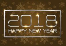 Argent de la bonne année 2018 sur l'or brun avec la conception de modèle de flocon de neige pour le vecto de fond de célébration  Image libre de droits
