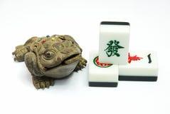 argent de mahjong de grenouille photo stock