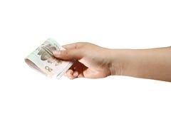 argent de main Photo stock