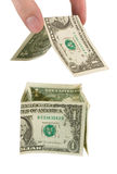 argent de maison de main de construction photos libres de droits