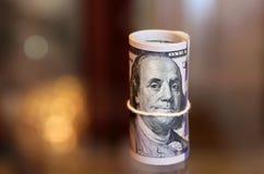 Argent de petit pain de billets d'un dollar Images stock