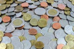 Argent de pièce de monnaie, argent thaïlandais de pièce de monnaie, fond d'argent de pièce de monnaie Photos stock
