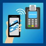 Argent de salaire par le téléphone intelligent Images stock