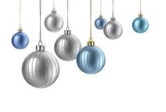 Argent de satin et billes bleues de Noël Photographie stock libre de droits