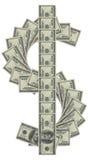 Argent de signes du dollar Images libres de droits
