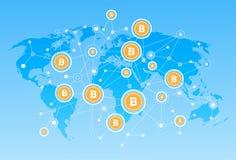 Argent de Web de Digital de concept de devise de réseau de carte de Bitcoin crypto illustration libre de droits