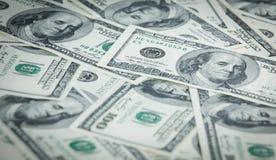 Argent des billets de banque de papier du dollar des USA $100 Photo libre de droits