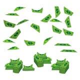 Argent des dollars d'un billet de banque la montagne à voler Sur le fond blanc Illustration ENV 10 utilisation pour la presse, co illustration stock