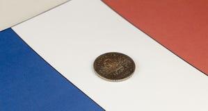 Argent des Frances dans la perspective du symbole de drapeau images libres de droits