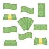 Argent différent réglé de billets de banque Empilez les factures, argent liquide de tas de finances - illustration plate de vecte Image libre de droits