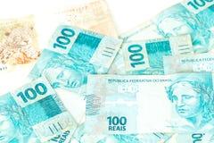 Argent du Brésil, reais, dénominations élevées Photo libre de droits