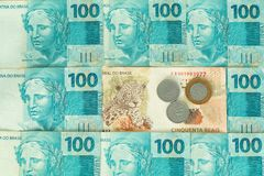 Argent du Brésil, reais, dénominations élevées Images stock