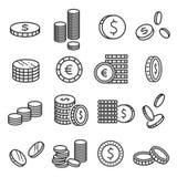 Argent en métal de pièces de monnaie, symbole financier dans les piles illustration stock