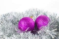 Argent et pourpre d'ornement de Noël Images libres de droits