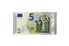 Argent - (5) euro avant de la facture cinq avec le rassemblement allemand de lettrage (spécimen) Image stock