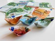 Argent, euro, bateau, argent liquide, factures Photographie stock libre de droits