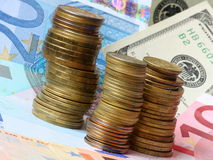 Argent - euro et dollars Images stock