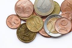 Argent - euro pièces de monnaie Photos libres de droits
