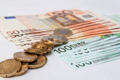 Argent européen - pièces de monnaie et billets de banque Photographie stock libre de droits