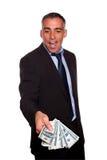 Argent exécutif Excited d'argent comptant de fixation et d'apparence Image stock