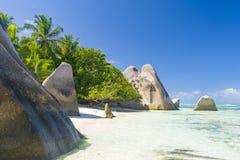Argent ` för Anse källa D, Seychellerna Arkivbild
