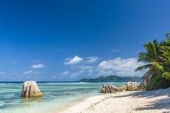 Argent ` för Anse källa D, Seychellerna Arkivfoton
