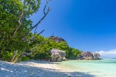 Argent ` för Anse källa D, Seychellerna Fotografering för Bildbyråer