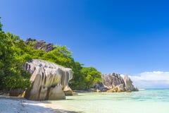 Argent ` för Anse källa D, Seychellerna Royaltyfria Foton