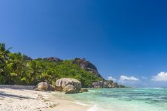 Argent ` för Anse källa D, Seychellerna Royaltyfri Bild