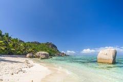 Argent ` för Anse källa D, Seychellerna Arkivbilder
