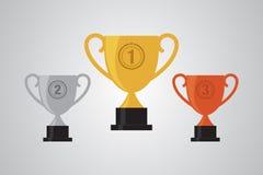 Or, argent, illustration plate de conception de gagnant de trophée en bronze de tasse Photographie stock