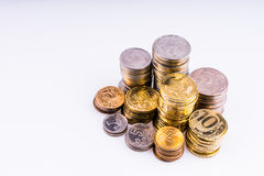 Argent Les pièces de monnaie Copecks et roubles Image libre de droits