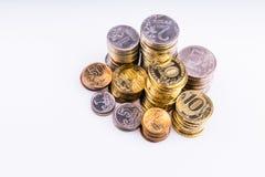 Argent Les pièces de monnaie Copecks et roubles Photographie stock libre de droits