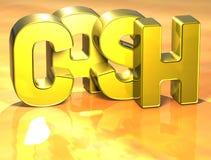 argent liquide de 3D Word sur le fond jaune Image libre de droits
