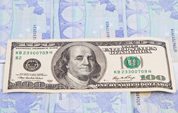 Argent liquide de 100 USD Image libre de droits