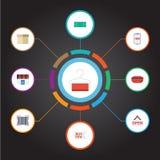 Argent liquide plat d'icônes, cas, Qr et d'autres éléments de vecteur L'ensemble de symboles plats de achat d'icônes inclut égale Photo stock