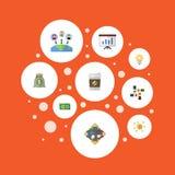 Argent liquide plat d'icônes, financement, discussion et d'autres éléments de vecteur L'ensemble de symboles plats d'icônes de pr Photographie stock