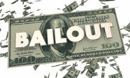 Argent liquide Word en baisse d'argent de crise financière de renflouement illustration stock