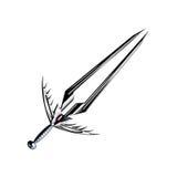 Argent médiéval d'épée d'imagination avec la poignée intéressante et la lame pointue Photographie stock
