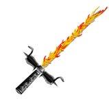 Argent médiéval d'épée d'imagination avec la poignée intéressante et la lame pointue Photos stock