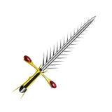 Argent médiéval d'épée d'imagination avec la poignée intéressante et la lame pointue Image stock