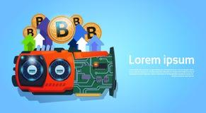 Argent micro d'or de Bitcoins Chip Digital Currency Modern Web au-dessus de fond bleu avec l'espace pour le texte Photos stock