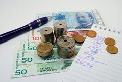 Argent norvégien - budget Photographie stock