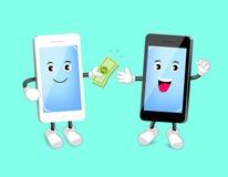 Argent payé de Smart-téléphone mignon de bande dessinée Paiement APP d'opérations bancaires Images libres de droits