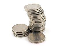 Argent - pile de 10 parties de penny Photos libres de droits
