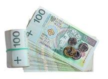 Argent. Pile de billets de banque de zloty du poli 100's Images libres de droits