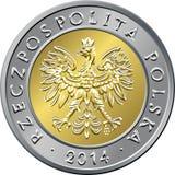 Argent polonais de face pièce de monnaie de cinq zloty Photographie stock