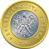 Argent polonais de face pièce de monnaie de deux zloty Photographie stock libre de droits